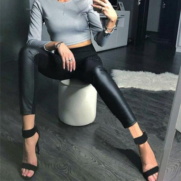 Casual Fashionable PU Collage Tall Waist Small Leg Pants Tight Pants
