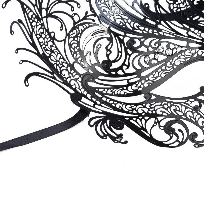 Venetian Masquerade Mask Women's Swan Metal Filigree Laser Cut Mask