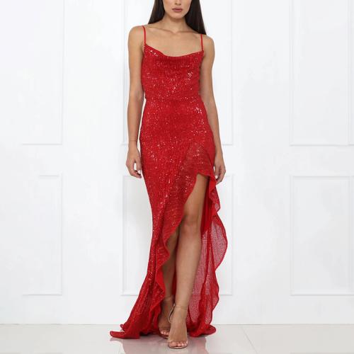Sexy Sling Solid Color Sequins Halter Ruffled Irregular Hem Tight Dress