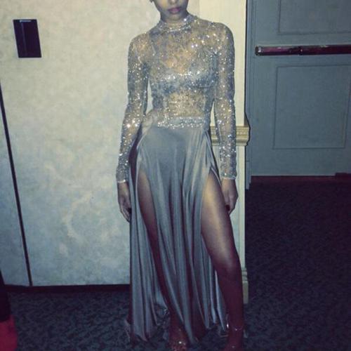 Elegant Paillette Perspective Long Sleeve Evening Dress