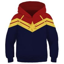 Kids Captain Marvel Jacket Cosplay Costume Fashion Hooded Sweatshirt