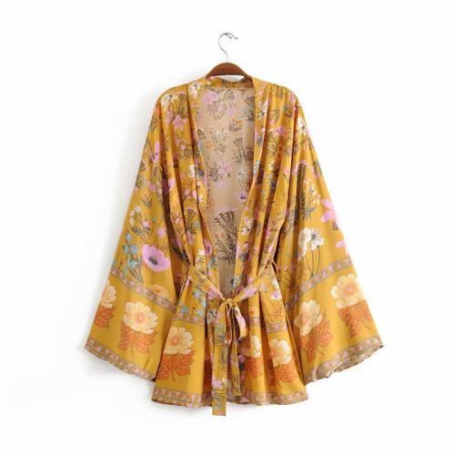 Boho Robe, Kimono Robe,  Blossom 2 Colors Yellow and Pink