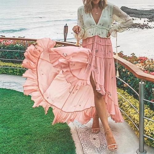 Boho V Neck Contrast Color Pleated Splicing Belted Dress