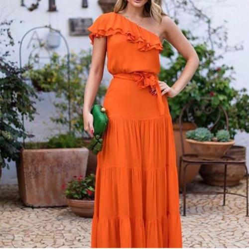 Elegant Sloping Shoulder Ruffled Belted Pure Colour Vacation Maxi Dress