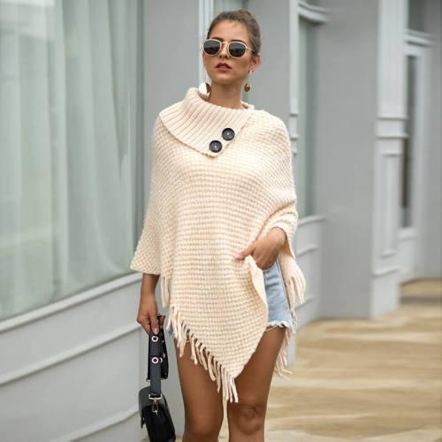 Tassel Loose Long Cape Sleeve Women Sweater