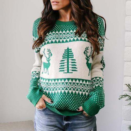 Christmas Geometric Elk Pattern Sweater