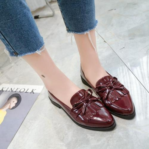 Woman Casual Tassel Bow Pointed Toe Black Oxford Comfortable Slip on Flats