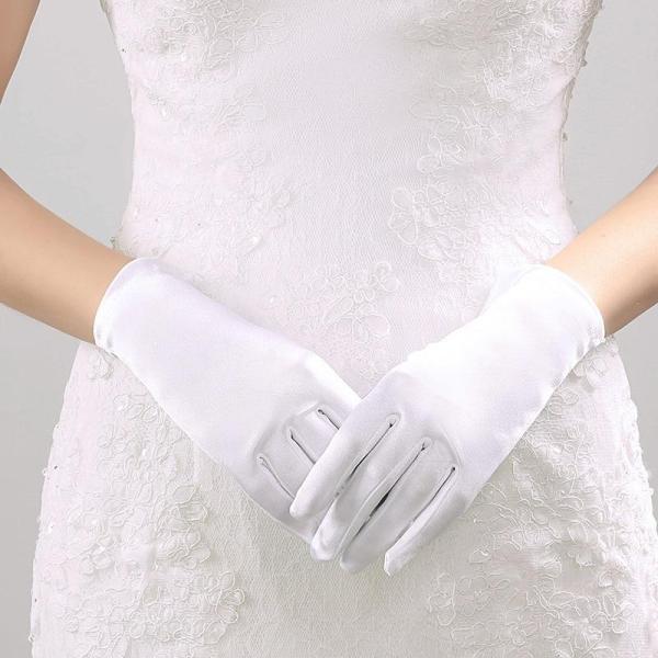 Short Wedding Gloves Finger for Women Wrist Ivory Satin Cuffs Simple Cheap Bridal Glove Luva De Noiva Wedding Accessorie