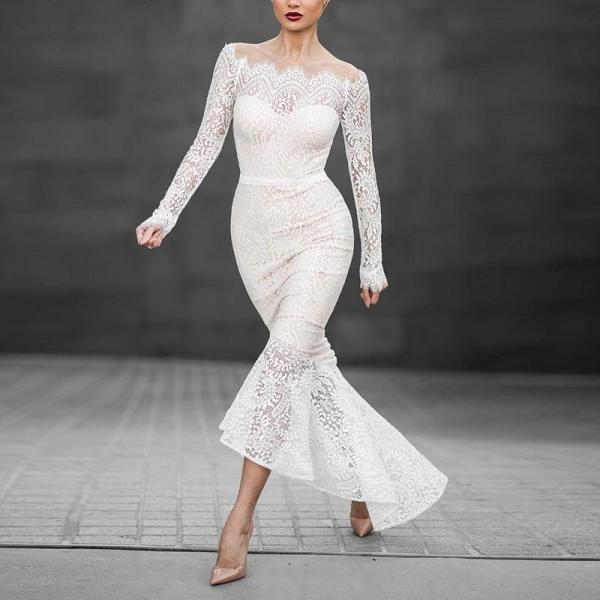 One-Shoulder Long-Sleeved Dovetail Dress