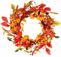20 inch Artificial Fall Wreath Door Wreath Autumn Wreath Berry Wreath Fall Decorations