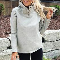 Casual Pure Color Baggy Long-Sleeved Hoodie