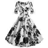 EBUYTIDE Ladies Floral Retro Dresses V-Neck Half Sleeve A-Line Trumpet Dresses Vintage 1950s Dresses Sweet Women's Party Dresses