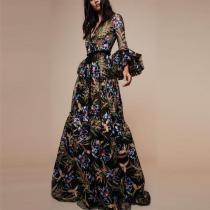 Sexy V-Collar Print Long-Sleeved Maxi Dress