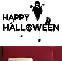 Party SuppliesHappy-Halloween Removable Decal Wall Sticker for Bar Living Room Home Party Window Door Grass Decor Includes Skeleton, Frankenstein, Pumpkin