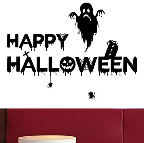 Party Supplies Happy-Halloween Removable Decal Wall Sticker for Bar Living Room Home Party Window Door Grass Decor Includes Skeleton, Frankenstein, Pumpkin