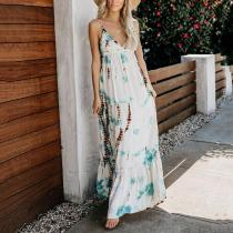 Bohemian Bare Back Sleeveless Printed Colour Pleated Dress