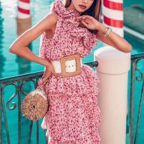 Elegant Floral Pattern Ruffled Sloping Shoulder Sleeveless Dress