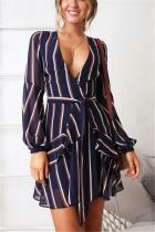 Striped Print V Collar Long-Sleeved Belt Dress
