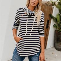 Fashion Slim Baggy Stripe Hooded Sweatshirt