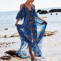 Fashion V Neck   Off-Shoulder Printed Maxi Dress