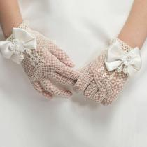 Fashion Princess Wedding Gloves for Girls Mesh Evening Children's Holiday Accessories with a Birthday Bow Performance Gloves for