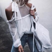 Perspective Sexy Strapless Chiffon Shirt Blouses