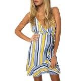 Summer New Fashion Women Pregnant Sleeveless Pregnant Maternity Stripe Sexy Print Dress