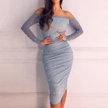 Off Shoulder Pleated Simple Temperament Dress