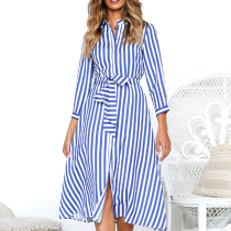 Fashion Casual Long Sleeves Striped Maxi Dress