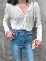 Casual Loose Sexy V   Neck Pure Color Long Sleeve Shirt
