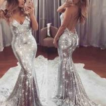 Fashion Sexy Deep V Sequin Evening Dress