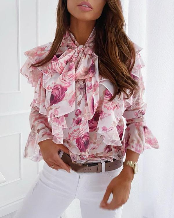 Floral Bell Sleeve Ruffle Top