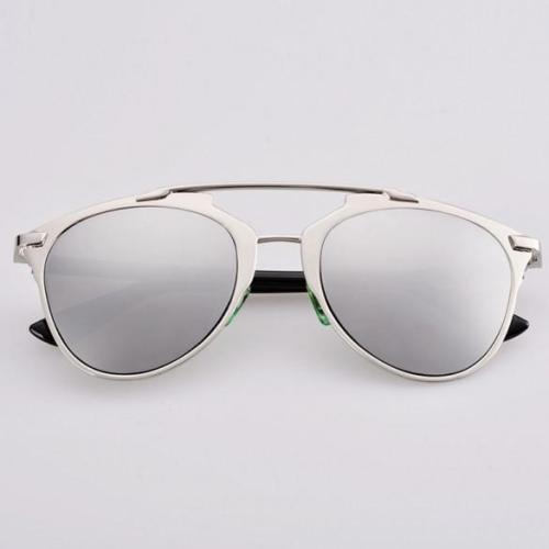 Lady Women's Retro Dual Horizontal Beam Full Frame Sunglasses