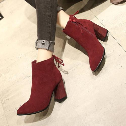 Pointed Toe Back Lace Up High Chunky Heels Short Boots