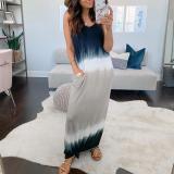 Round Neck Sleeveless Tie Dye Maxi Dress