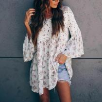 Sweet V Neck Bell Sleeves Hollow Out Floral Pattern Shirt