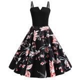 Women V Neck Vintage Dress 2020 Black Spaghetti Strap Sexy High Waist Party Rockabilly Dress Elegant Dot Beach Summer Dresses