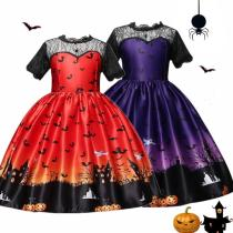 Girls Cosplay Dress Fantasy Pumpkin Printing Halloween Party Gown Children Clothing Princess Dress up 4-10T Kids Holiday Costume