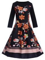 EBUYTIDE Women's Retro Floral Print Long Sleeve Vintage Dress