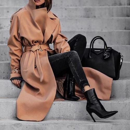 Fashion Fold Collar Solid Color Long Coat
