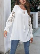 Casual Loose Slim Sexy   Hollow Out  Pure Color Shirt