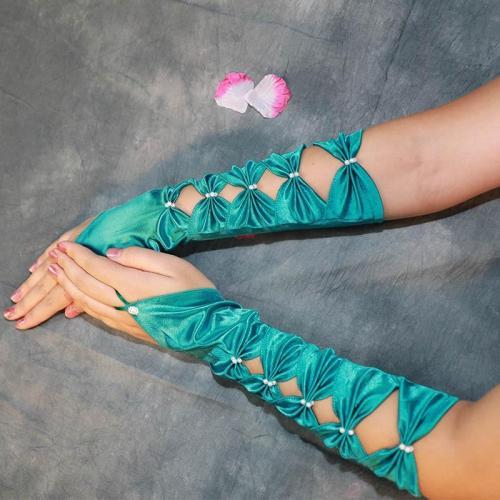 Teal Long Wedding Gloves For Bride Green Satin Elbow Length Femme Gloves Evening Dance Party Glove ST020