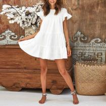 Stylish Casual Round Neck And   Ruffled Dress