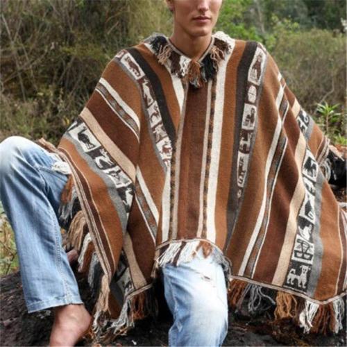 Men's Crew Neck Printed Knit Cloak