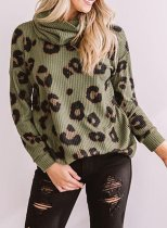 Leopard Turtleneck Casual Sweatshirt
