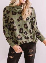 Leopard Turtleneck Casual Sweatshirt