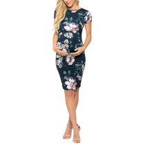 Summer New Fashion Women's Maternity Pregnant Short Sleeve O-neck Casual Comfy Floral Print Dress