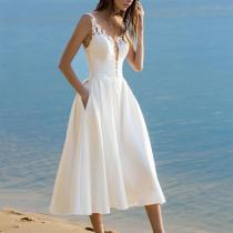 Elegant V Neck Pure Colour Sling Sleeveless Dresses