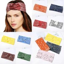 Creative Cashew Printing Non-Slip Wide Headband Cross Knot Hairband Turban Women Casual Elastic Cloth Fabric Hair Accessories
