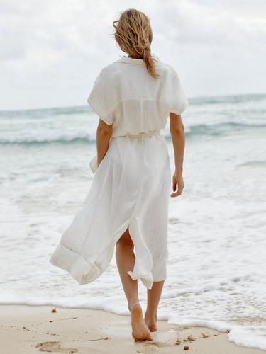 Solid Fresh Bandage Button-with Cover-up Swimwear